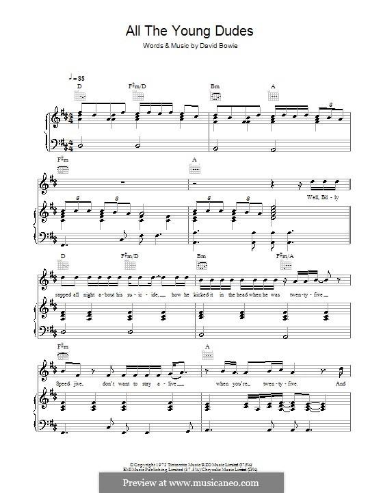 All the Young Dudes (Mott The Hoople): Para vocais e piano (ou Guitarra) by David Bowie