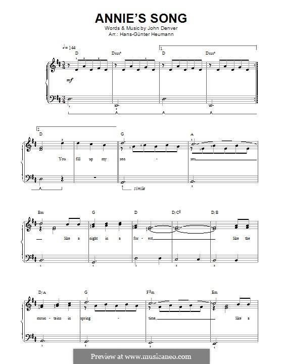 Annie's Song: Para vocais e piano by John Denver