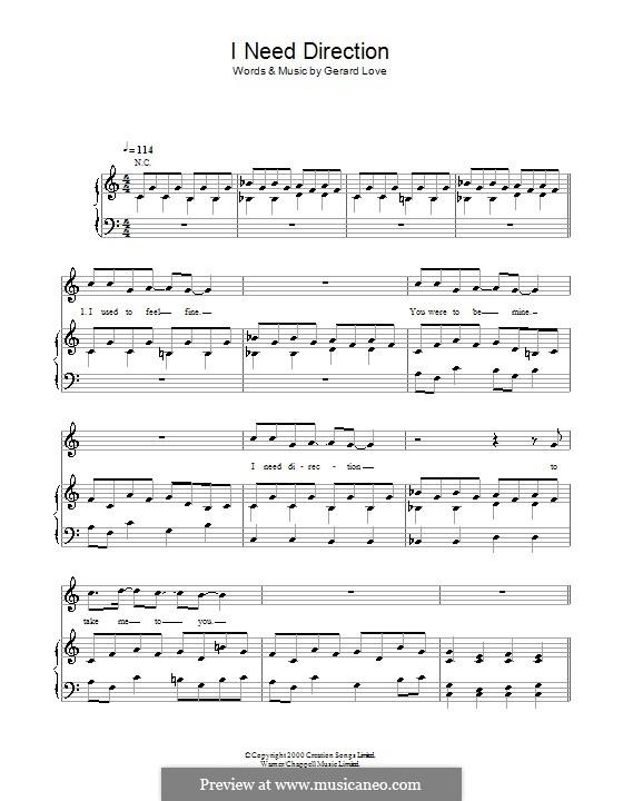 I Need Direction (Teenage Fanclub): Para vocais e piano (ou Guitarra) by Gerard Love