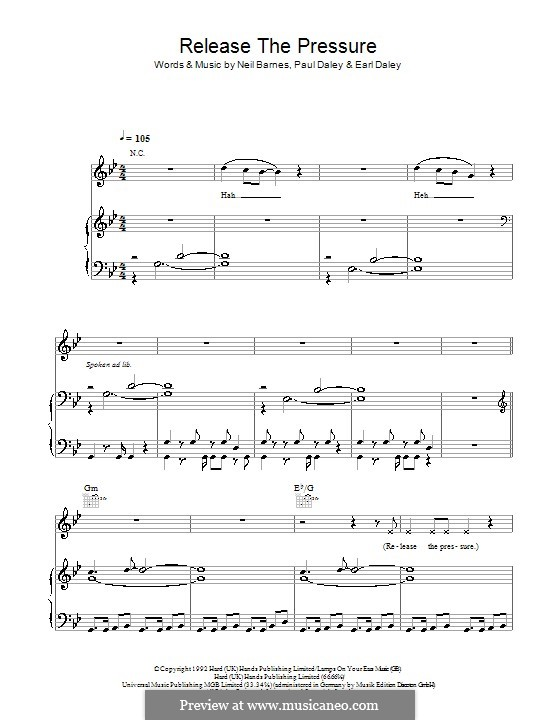 Release the Pressure (Leftfield): Para vocais e piano (ou Guitarra) by Earl Daley, Neil Barnes, Paul Daley
