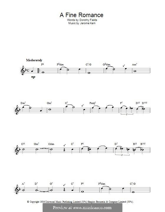 A Fine Romance: para flauta by Jerome Kern