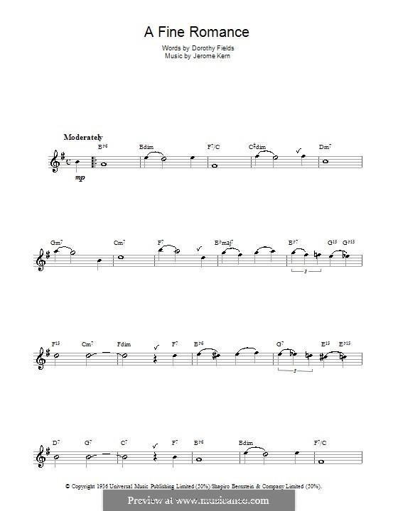 A Fine Romance: para saxofone by Jerome Kern