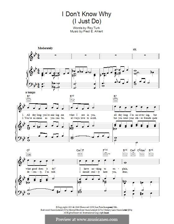 I Don't Know Why (I Just Do): para voz, guitarra e piano (frank sinatra) by Roy Turk, Fred E. Ahlert