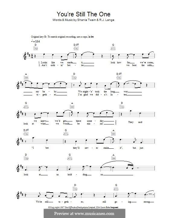 You're Still the One: melodía,letras e acordes by Robert John Lange, Shania Twain