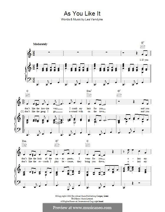 As You Like It (Adam Faith): Para vocais e piano (ou Guitarra) by Les Vandyke