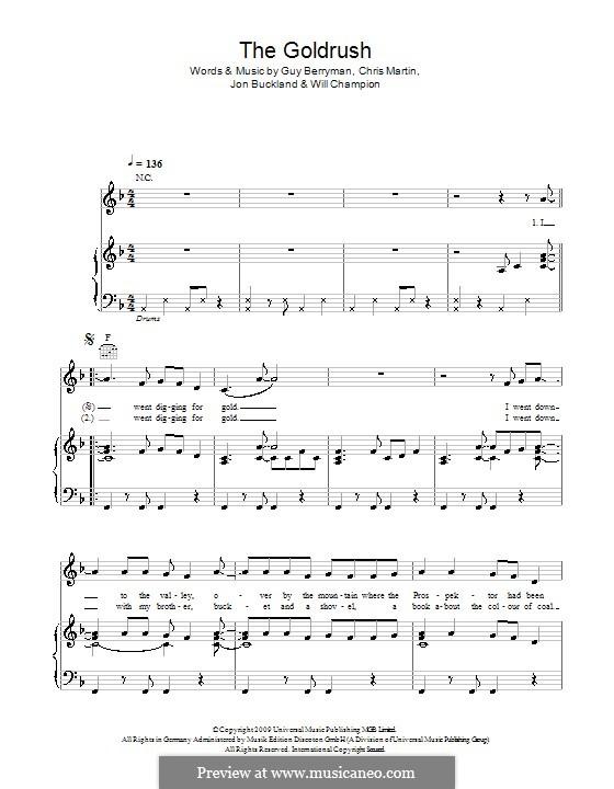 The Goldrush (Coldplay): Para vocais e piano (ou Guitarra) by Chris Martin, Guy Berryman, Jonny Buckland, Will Champion