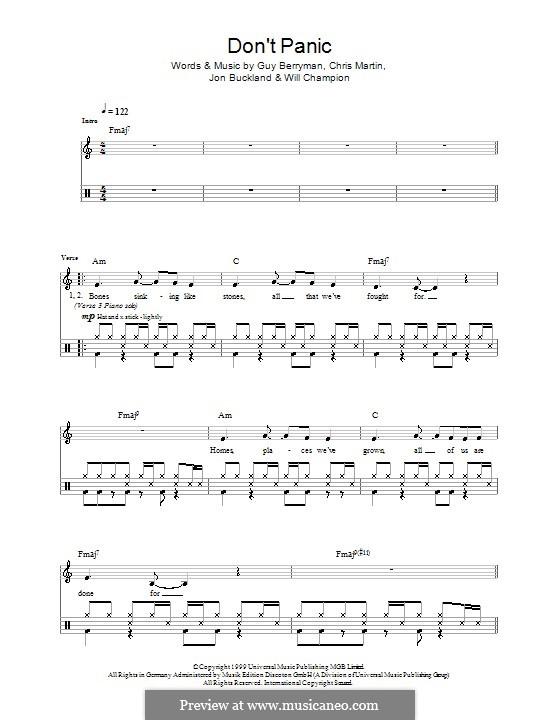 Don't Panic (Coldplay): para bateria by Chris Martin, Guy Berryman, Jonny Buckland, Will Champion