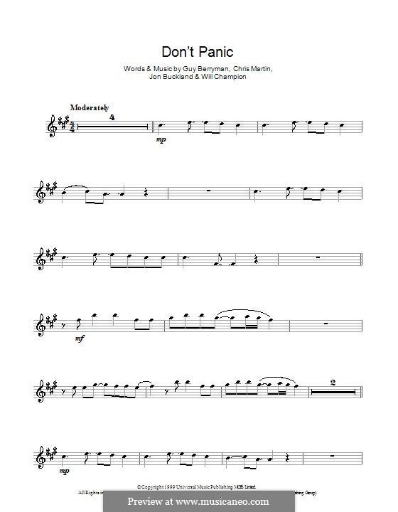 Don't Panic (Coldplay): para Saxofone Alto by Chris Martin, Guy Berryman, Jonny Buckland, Will Champion