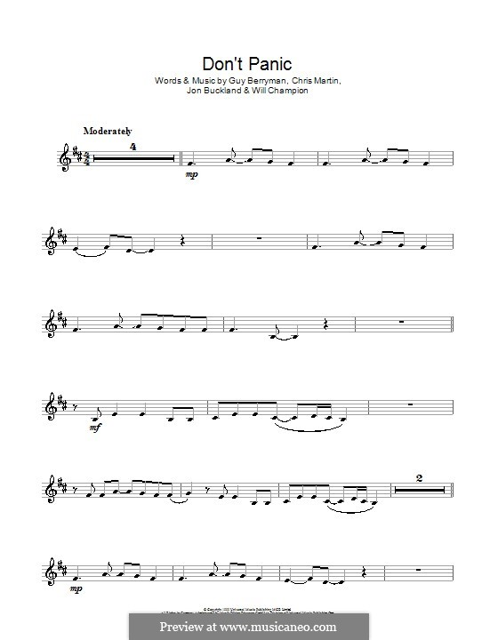 Don't Panic (Coldplay): para clarinete by Chris Martin, Guy Berryman, Jonny Buckland, Will Champion