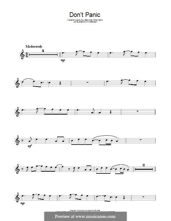 Don't Panic (Coldplay): para flauta by Chris Martin, Guy Berryman, Jonny Buckland, Will Champion