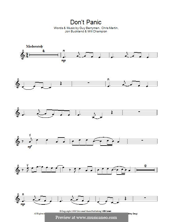 Don't Panic (Coldplay): para violino by Chris Martin, Guy Berryman, Jonny Buckland, Will Champion