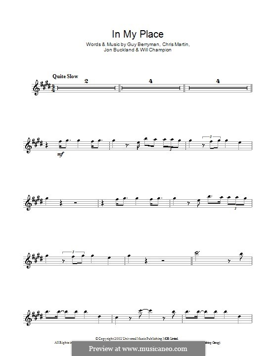 In My Place (Coldplay): para Saxofone Alto by Chris Martin, Guy Berryman, Jonny Buckland, Will Champion