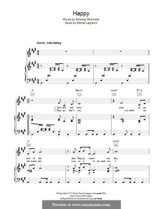 Happy (Michael Jackson): Para vocais e piano (ou Guitarra) by Michel Legrand