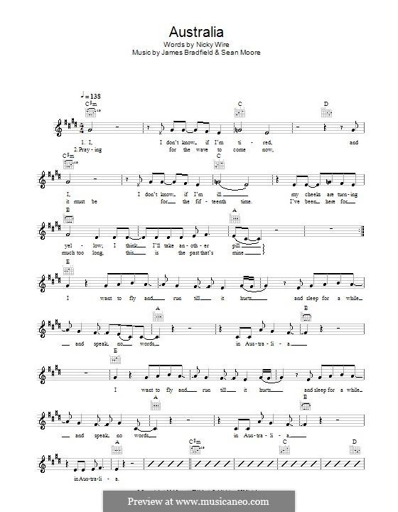 Australia (Manic Street Preachers): melodía,letras e acordes by James Dean Bradfield, Sean Moore