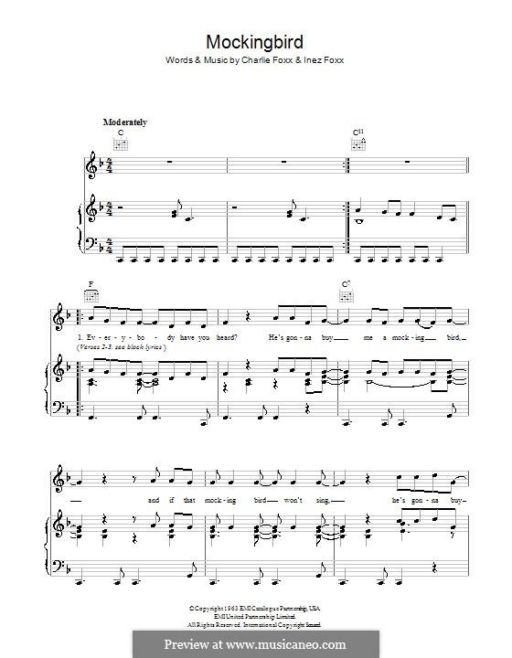 Mocking Bird (Aretha Franklin): Para vocais e piano (ou Guitarra) by Charlie Foxx, Inez Foxx