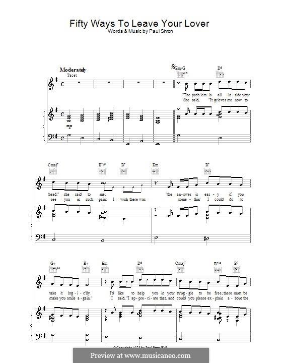 Fifty Ways to Leave Your Lover: Para vocais e piano (ou Guitarra) by Paul Simon