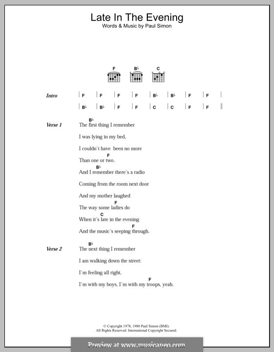 Late in the Evening: Letras e Acordes by Paul Simon