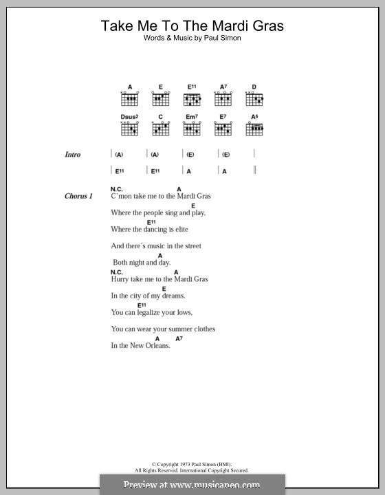 Take Me to the Mardi Gras: Letras e Acordes by Paul Simon