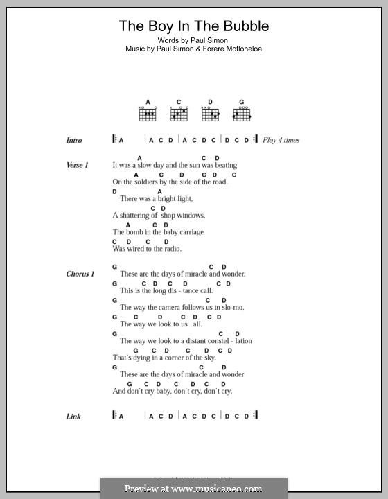 The Boy in the Bubble: Letras e Acordes by Forere Motloheloa, Paul Simon