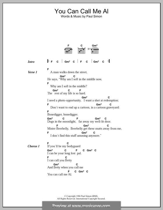 You Can Call Me Al: Letras e Acordes by Paul Simon