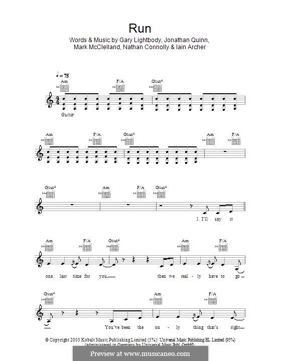 Run: Melody line, lyrics and chords (Snow Patrol) by Gary Lightbody, Iain Archer, Jonathan Quinn, Mark McClelland, Nathan Connolly
