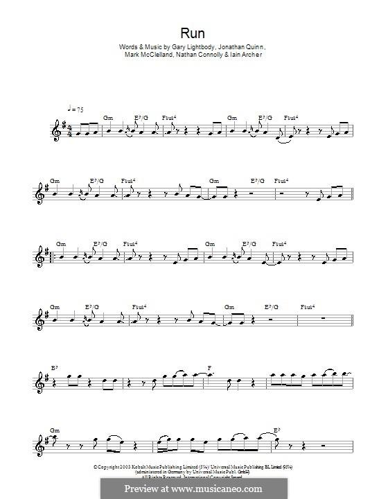 Run: para saxofone by Gary Lightbody, Iain Archer, Jonathan Quinn, Mark McClelland, Nathan Connolly