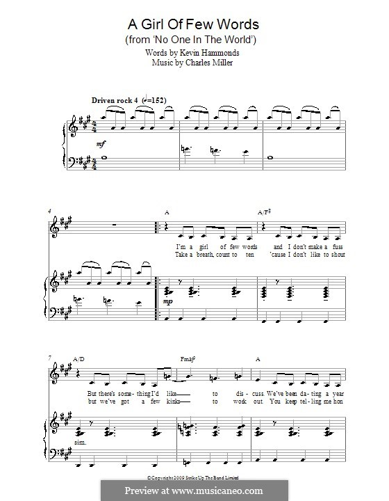 A Girl of Few Words (from No One in the World): Para vocais e piano by Charles Miller