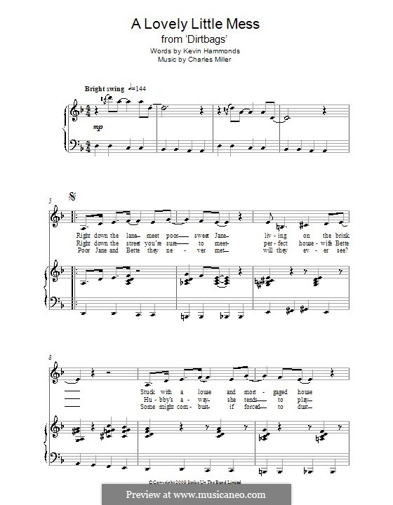A Lovely Little Mess (from Dirtbags): Para vocais e piano by Charles Miller