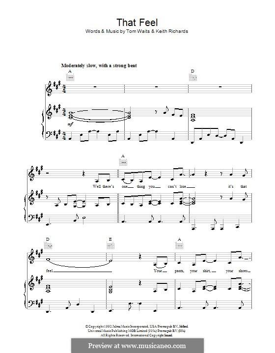 That Feel: Para vocais e piano (ou Guitarra) by Keith Richards, Tom Waits