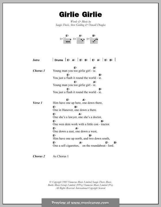 Girlie Girlie (Sophia George): Letras e Acordes by Oswald Douglas, Sangie Davis, Steve Golding