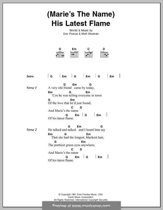 (Marie's the Name) His Latest Flame (Elvis Presley): Letras e Acordes by Doc Pomus, Mort Shuman