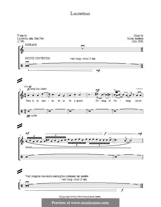 Lucretius: For soprano and percussion by Julian Anderson