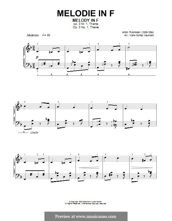 Two Melodies, Op.3: Melody No.1 in F Major (high quality sheet music) by Anton Rubinstein