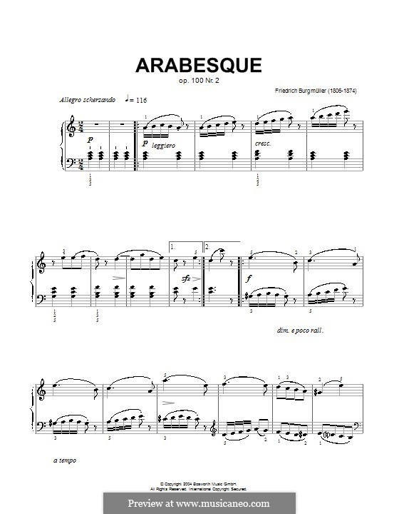 No.2 Arabesque: For piano. Version by Hans-Günter Heumann by Johann Friedrich Burgmüller