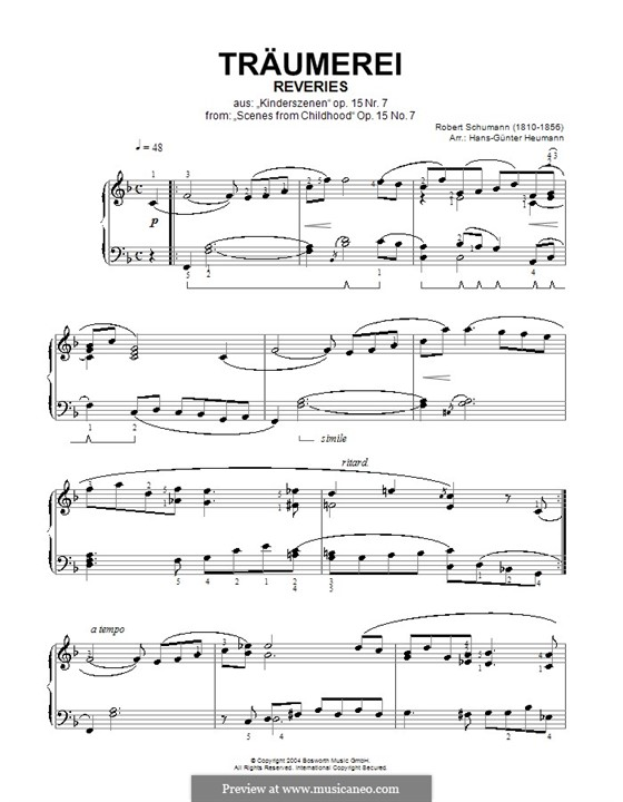 No.7 Träumerei (Dreaming): For piano (version by Heumann) by Robert Schumann