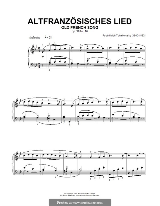 No.16 Old French Song: Para Piano by Pyotr Tchaikovsky