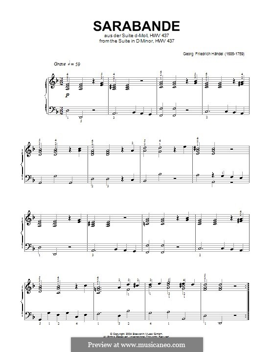 Suite No.4 in D Minor, HWV 437: Sarabande, for piano (high quality sheet music) by Georg Friedrich Händel