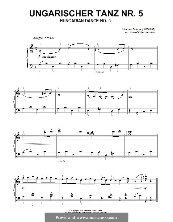 Dance No.5 in F Sharp Minor (Printable scores): For piano (by Hans-Günter Heumann) by Johannes Brahms