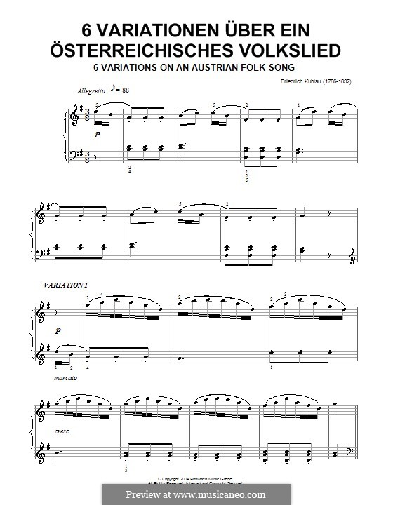 Six Variations on an Austrian Folk Song: Six Variations on an Austrian Folk Song by Friedrich Kuhlau