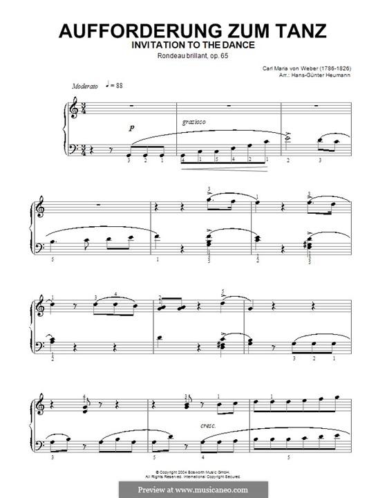 Invitation to the Dance, J.260 Op.65: para piano (com dedilhado) by Carl Maria von Weber