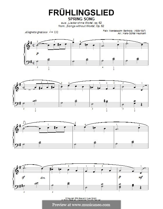 Songs without Words, Op.62: No.6 Spring Song (G Major) by Felix Mendelssohn-Bartholdy