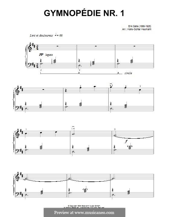 Gymnopédies: No.1 (with fingering) by Erik Satie