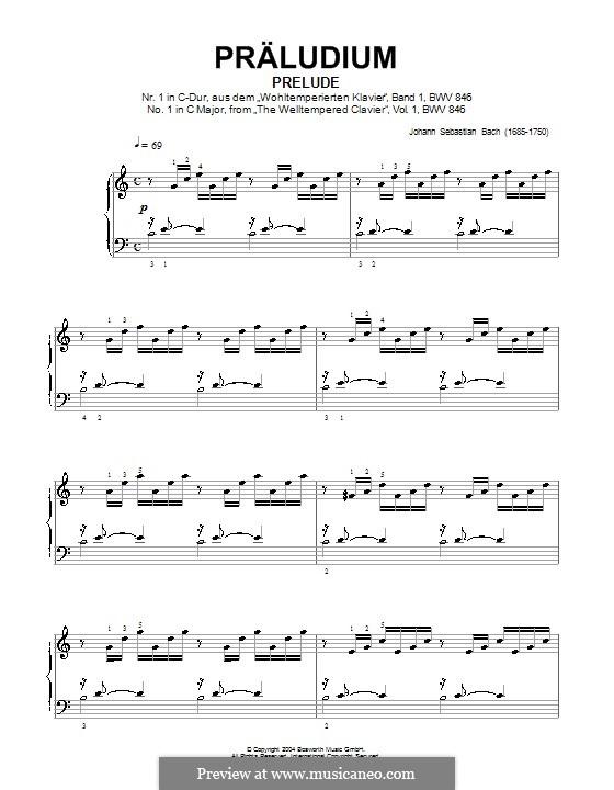 Prelude and Fugue No.1 in C Major, BWV 846: introdução, para piano by Johann Sebastian Bach
