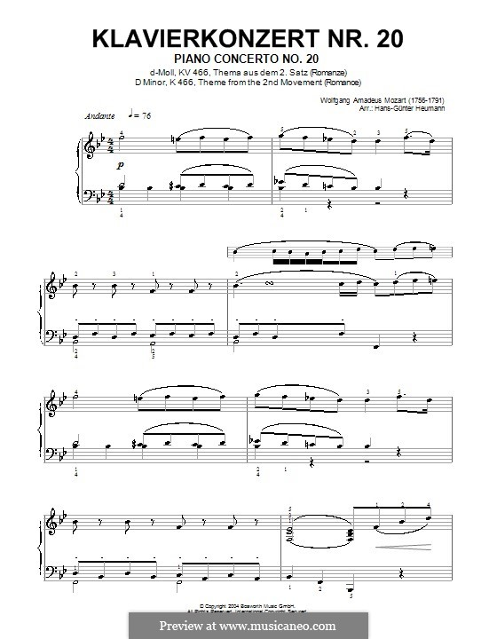 Concerto for Piano and Orchestra No.20 in D Minor, K.466: Movimento II (Tema). Versão para piano by Wolfgang Amadeus Mozart