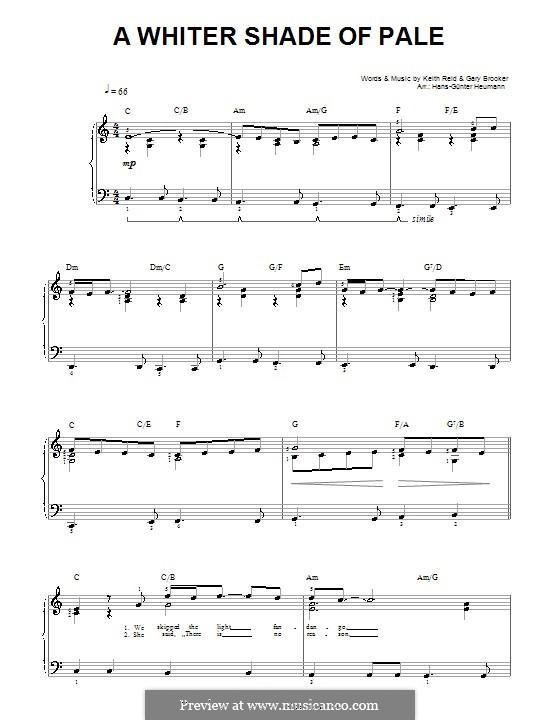 A Whiter Shade of Pale (Procol Harum): Para vocais e piano by Gary Brooker