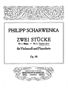 Two Pieces for Cello and Piano, Op.98: No.2 Caprice Slave by Philipp Scharwenka
