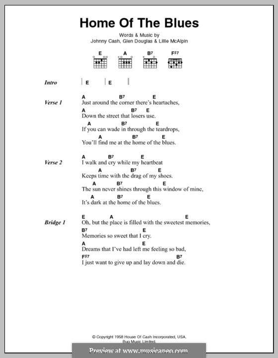 Home of the Blues: Letras e Acordes by Glenn Douglas, Johnny Cash, Lillie McAlpin