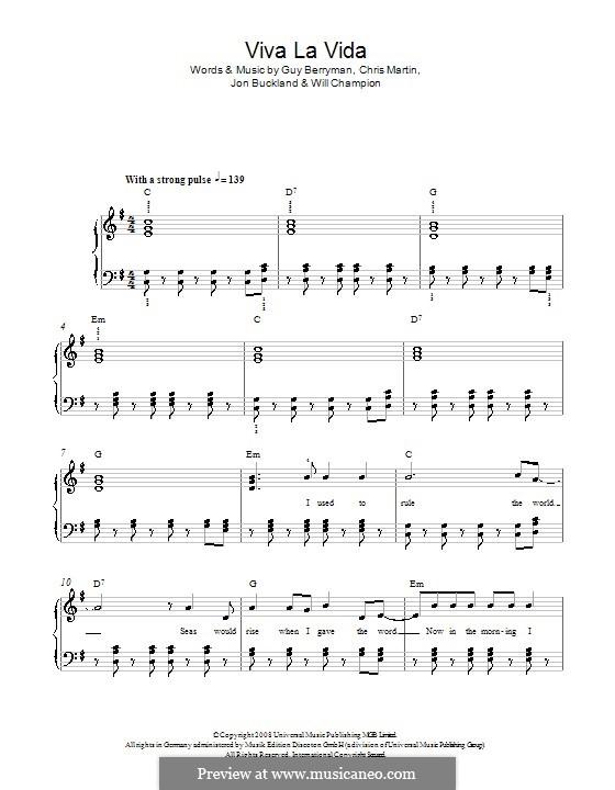 Piano version: Easy version (with lyrics) by Chris Martin, Guy Berryman, Jonny Buckland, Will Champion