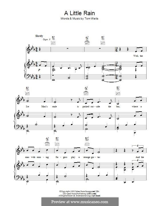 A Little Rain: Para vocais e piano (ou Guitarra) by Tom Waits
