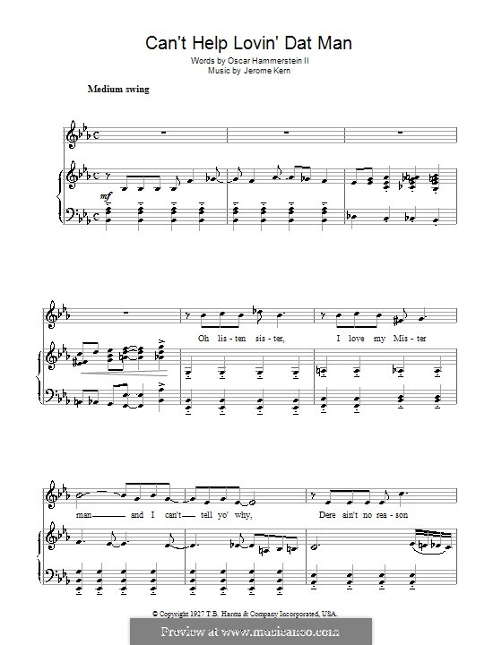 Can't Help Lovin' Dat Man (from Show Boat): Para vocais e piano by Jerome Kern